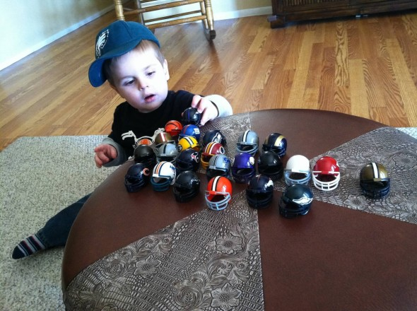 Also important? Perfectly arranged football helmets.