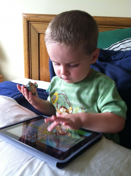 Has no problem remembering how to use the iPad, where I keep it stored, or which episodes he likes the best on the PBS Kids app. Forgets he's not allowed to climb on the couch with his shoes on.