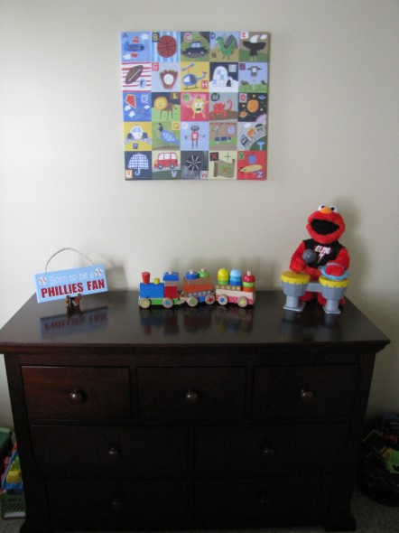 "His dresser. We bought the alphabet picture on the wall when I was pregnant with him. I still remember standing in the aisle at Target and Mike saying, ""I love it. He has to have it."" It's still one of my favorite things in his room."