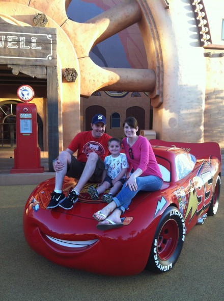 Random resort tours with Mom and Dad the allow for family photos on the top of Cars movie props.